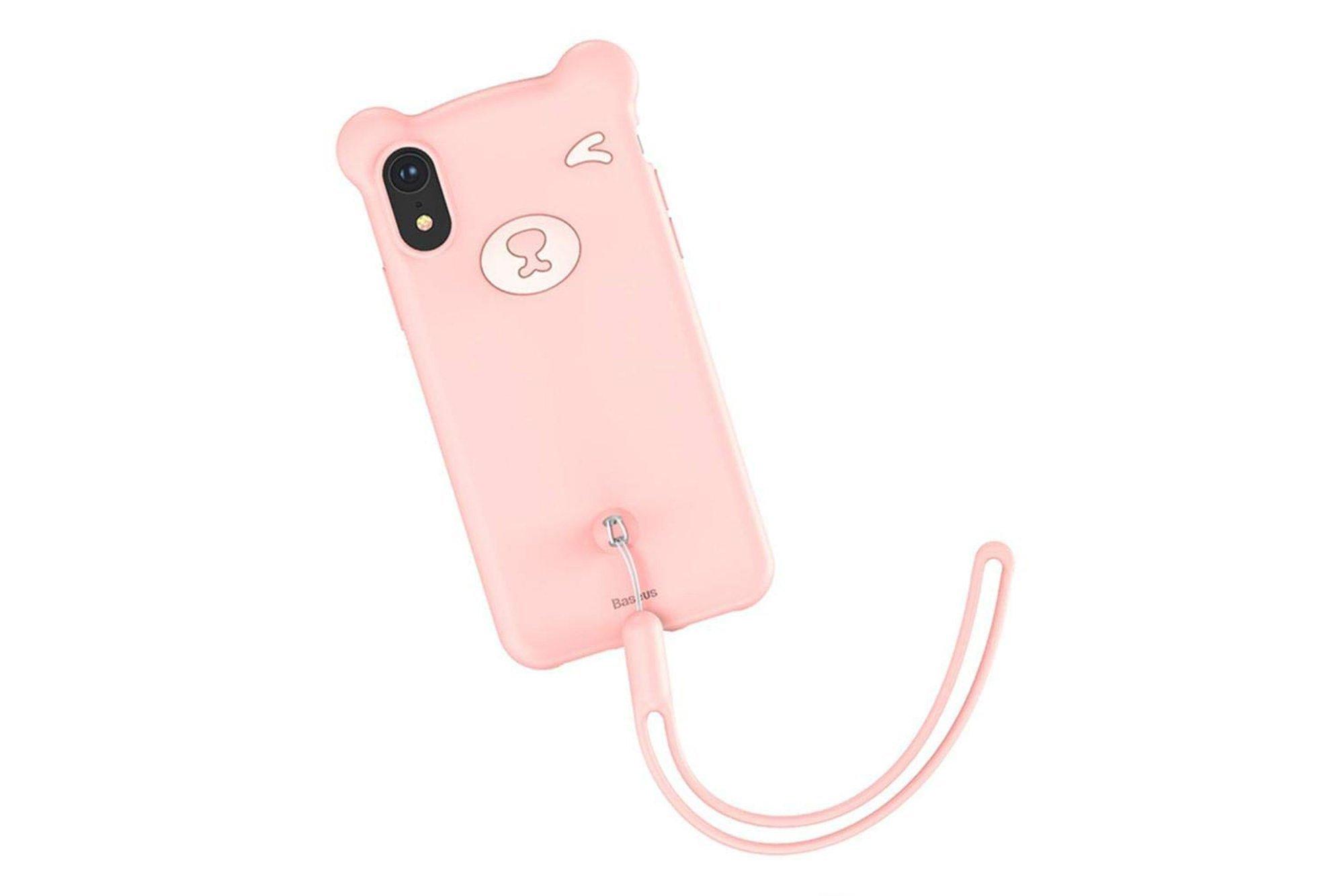 Telefonhülle Baseus Bär Silikon Hülle Silizium iPhone XS / X Pink