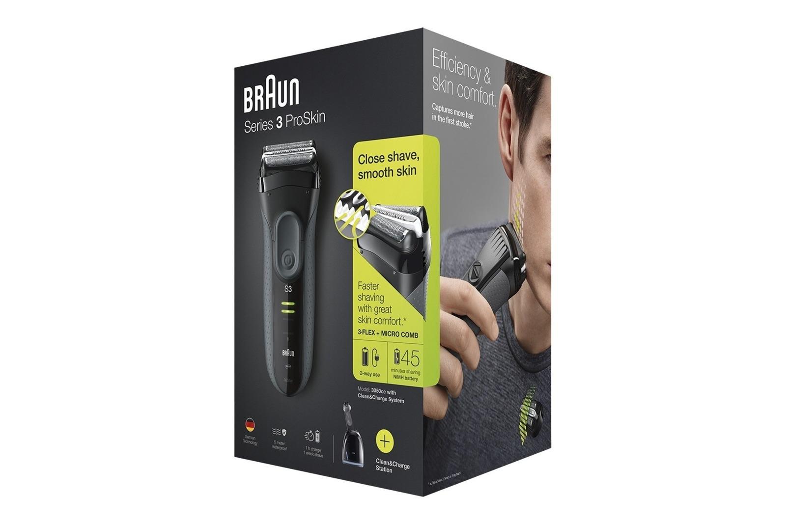 Braun Series 3 ProSkin 3050cc Rasierer Grau + Clean&Charger Station